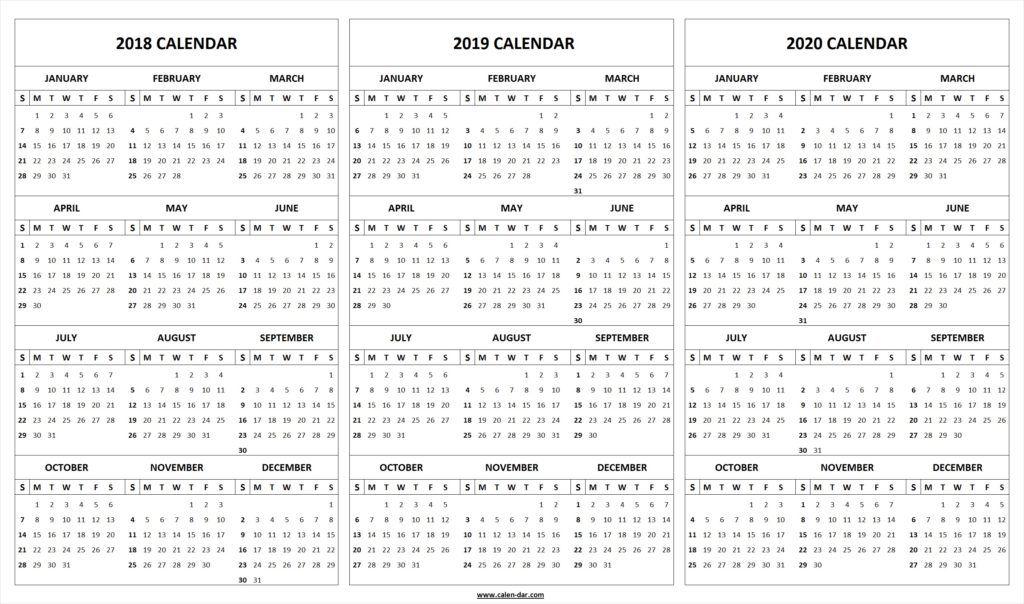 Printable 2018 2019 2020 Calendar Template Calendar Template