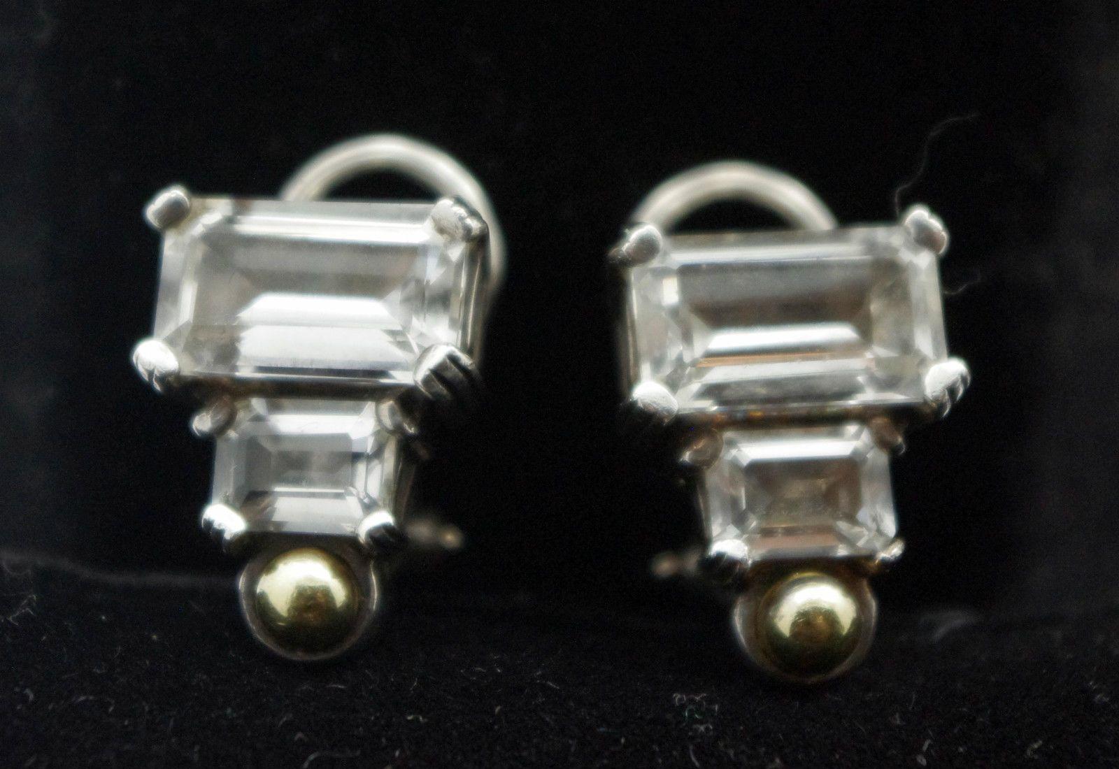 275 Lagos Glacier White Topaz Earrings Huggie Omega Back 925 SS 750 18 K Gold | eBay
