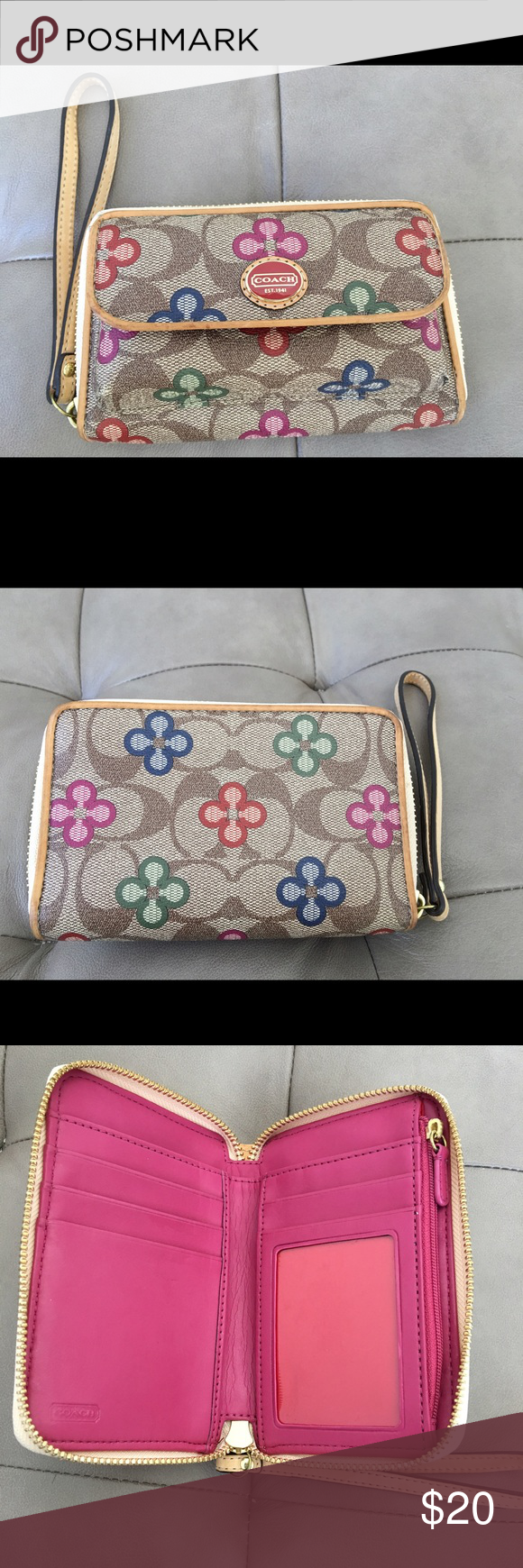 Coach wristlet Cute Coach Wristlet. Outer pocket with magnetic closure can hold lipstick, lipgloss, or other small items. Inside has zippered coin purse, window for ID, multiple places for cards, and large slot for money. Coach Bags Clutches & Wristlets