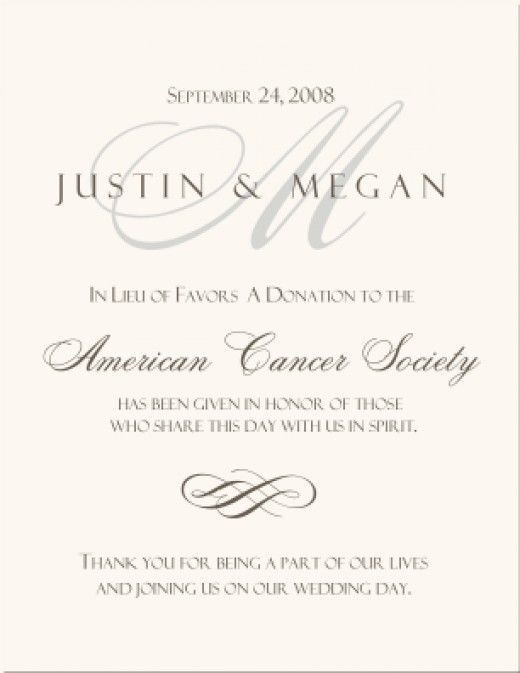 Wedding Program Thank You Wording Donation In Lieu Of