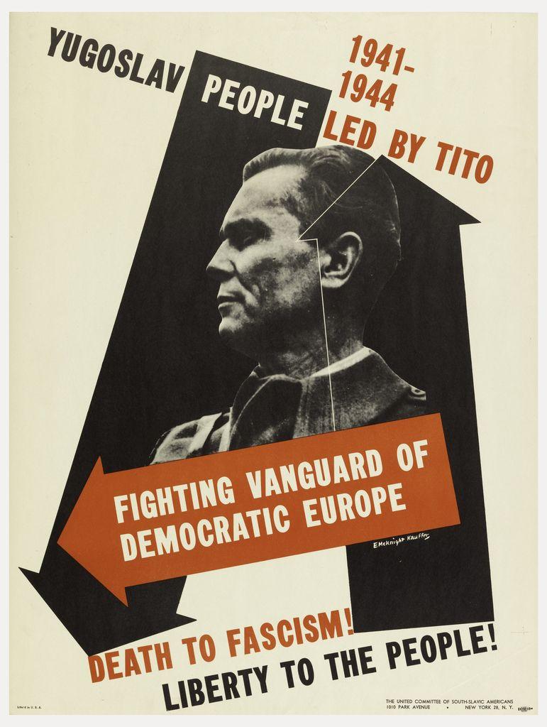 Fighting the Vanguard of Democratic Europe (ca. 1944). Poster by Edward  McKnight Kauffer
