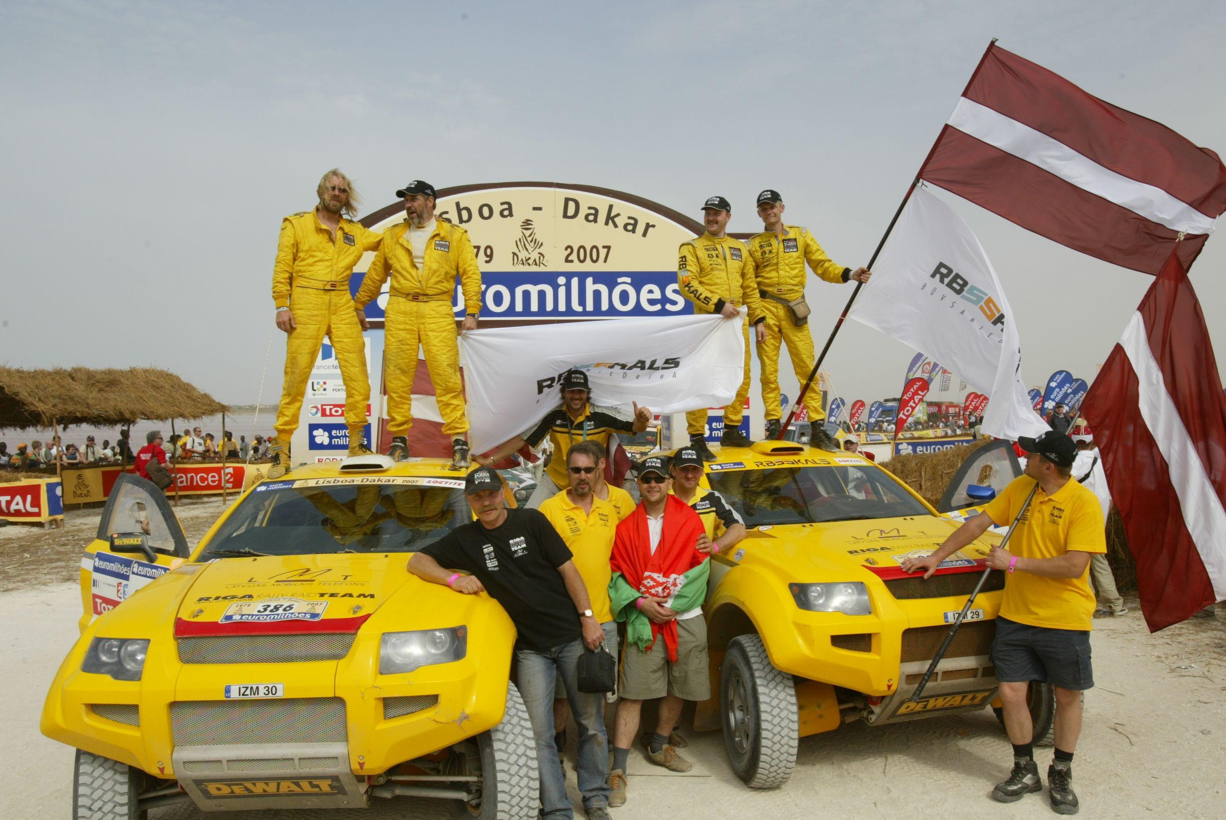 Rīga RallyRaid Team at the finish of Dakar 2007