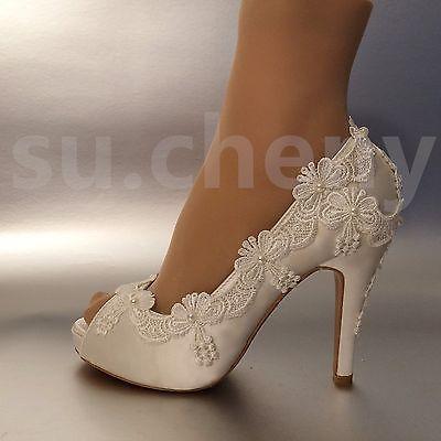 Su Cheny 3 4 Heel Satin White Ivory Lace Pearls Open Toe Wedding Bridal Shoes Ebay Wedding Shoes Heels Wedding Shoes Bride Bridal Shoes