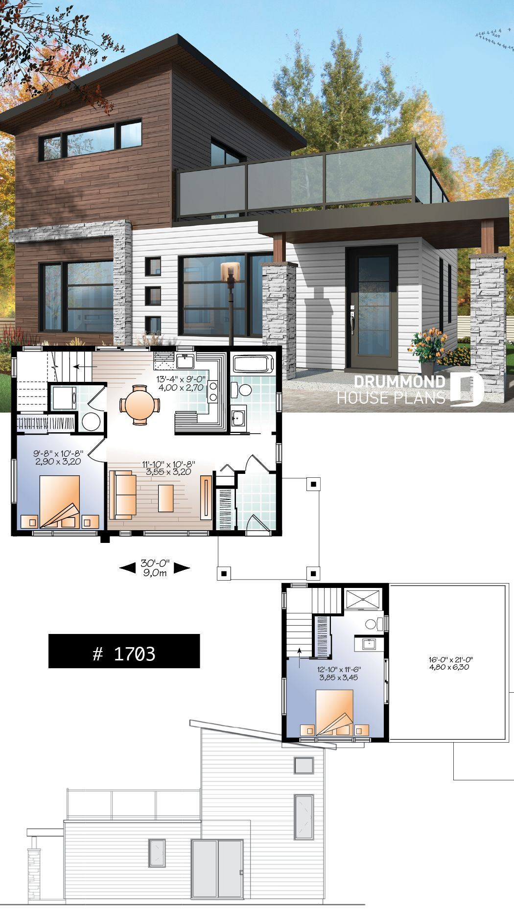 2 Storey 2 Bedroom Small And Tiny Modern House With Deck On 2nd House Blueprints Ev Zemin Planlari Modern Ev Tasarimi
