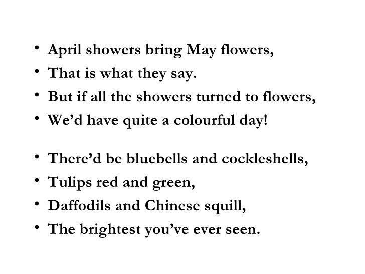 April Showers Bring May Flowers Images Pictures Poem