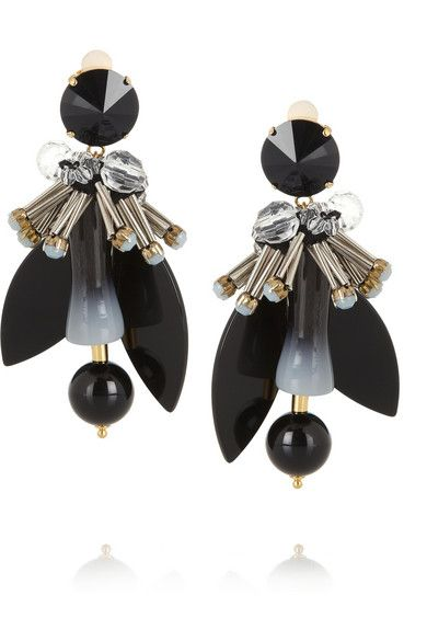 Marni Gold-plated, Crystal and Horn Clip Earrings, $520 at Net-A-Porter. Gold-plated brass earrings adorned with natural horn and crystals in black and pastel blue.