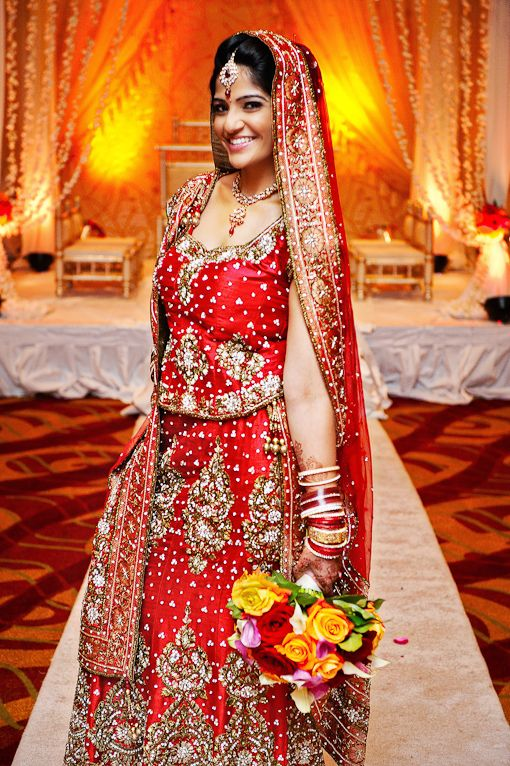 Red Indian Bridal Lehnga. Photo by