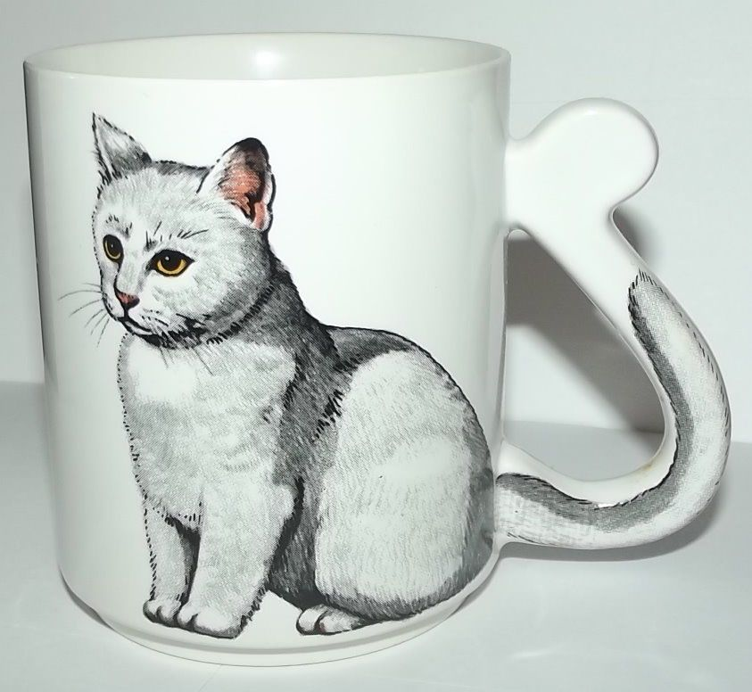 Crazy Cat Lady Mug Gray Silver Tabby Cat Coffee Cup W Tail British