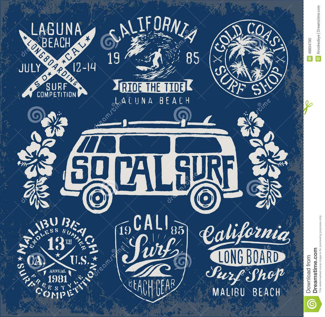 Logos Set Of Vintage Surfing
