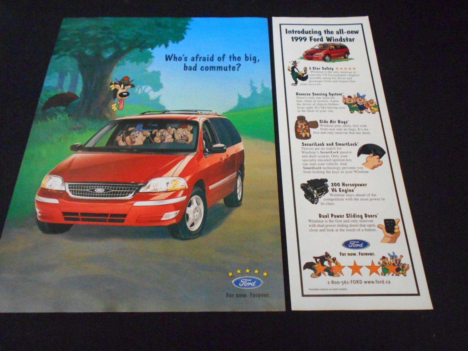 Ford Windstar Magazine Ad 1996 Three Little Pigs Looney Tunes