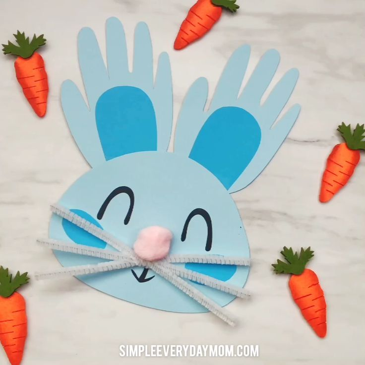 Handprint Bunny Craft For Kids #craftsforkids
