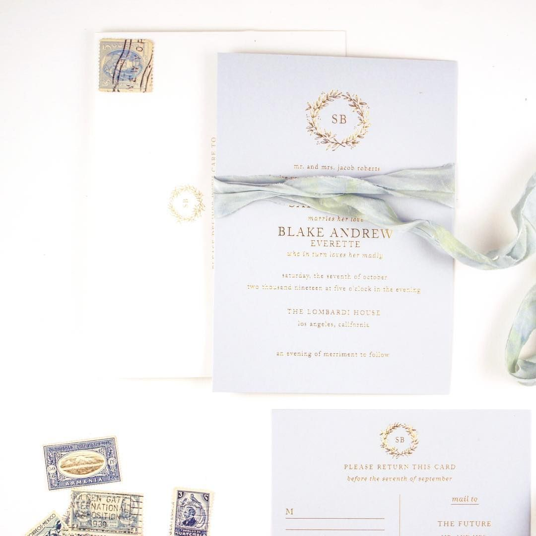 Gold Foil And Blue Wedding Invitation With Hand Dyed Silk Ribbon And