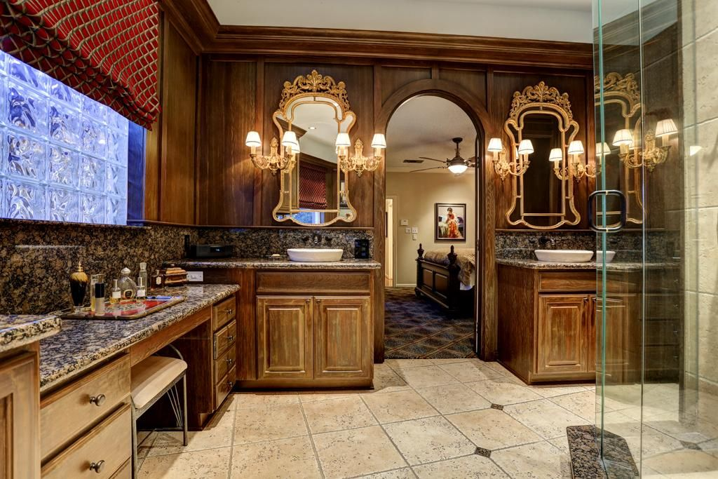 double sink vanity with makeup area Google Search