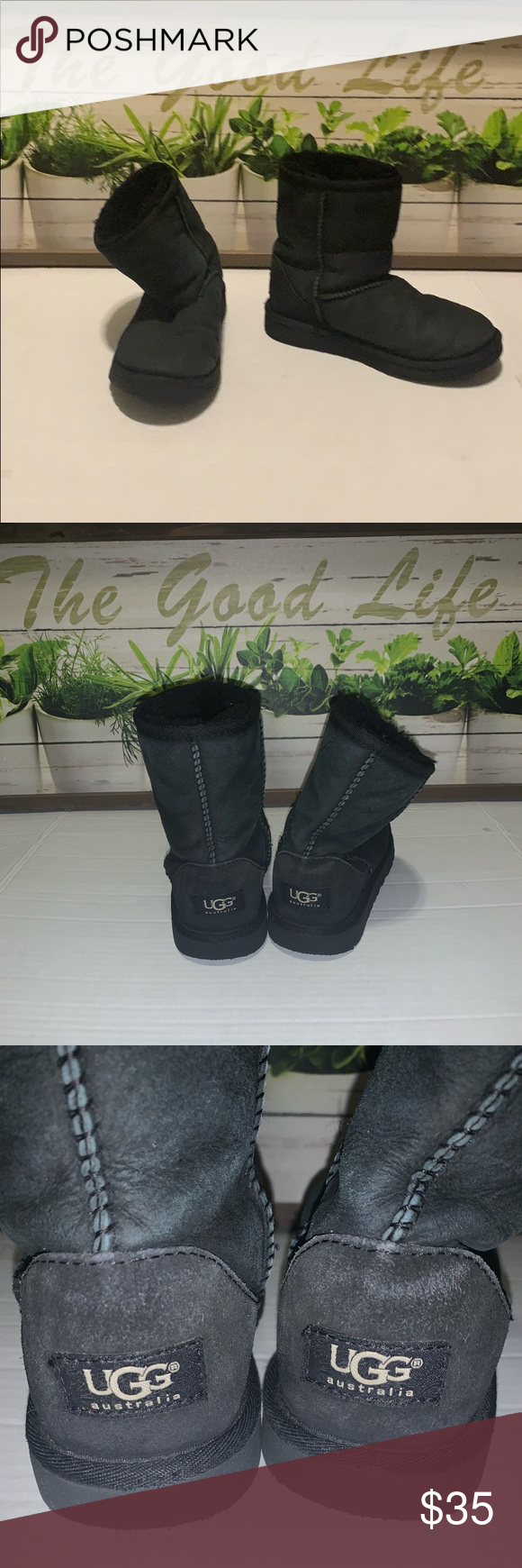 Ugg girls boots Off black very worn but great preowned condition UGG Shoes Boots #uggbootsoutfitblackgirl