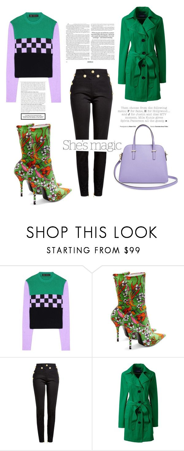 """""""Untitled #342"""" by coffeegirl233 ❤ liked on Polyvore featuring Versace, Balenciaga, Balmain, Lands' End, Nicole and Kate Spade"""