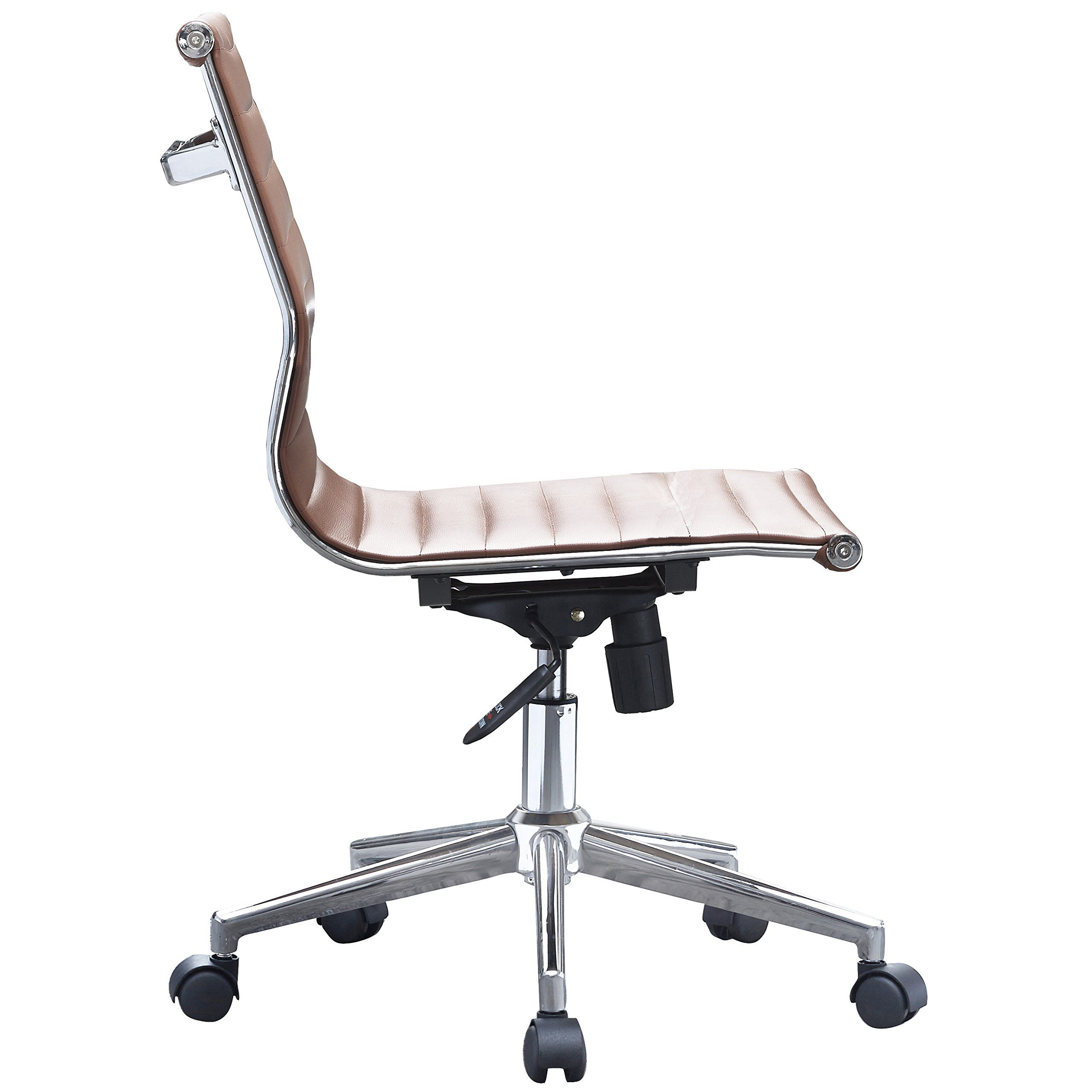 brown office chair without arms sling hanging swing 2xhome mid century modern executive back pu leather arm rest tilt adjustable height with wheels support task work chrome armless
