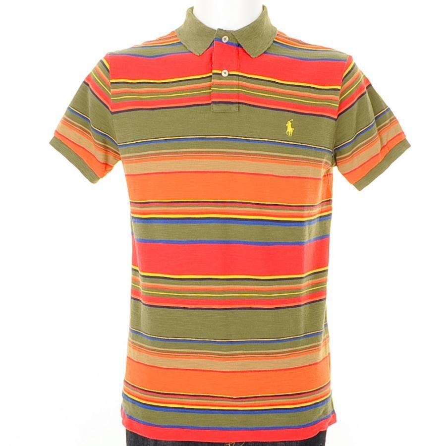 b194fd1a Ralph Lauren Short Sleeved Custom Fit Multi Stripe Weathered Mesh Fancy Polo  T Shirt In Dark Sage Green, Overall multi striped design in dark sage  green, ...