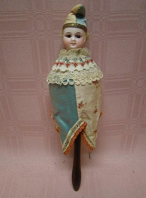French or German Original Musical Bisque Head Marotte