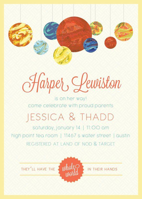Little Words Design - Blog Solar system baby shower invitation - how to word baby shower invitations