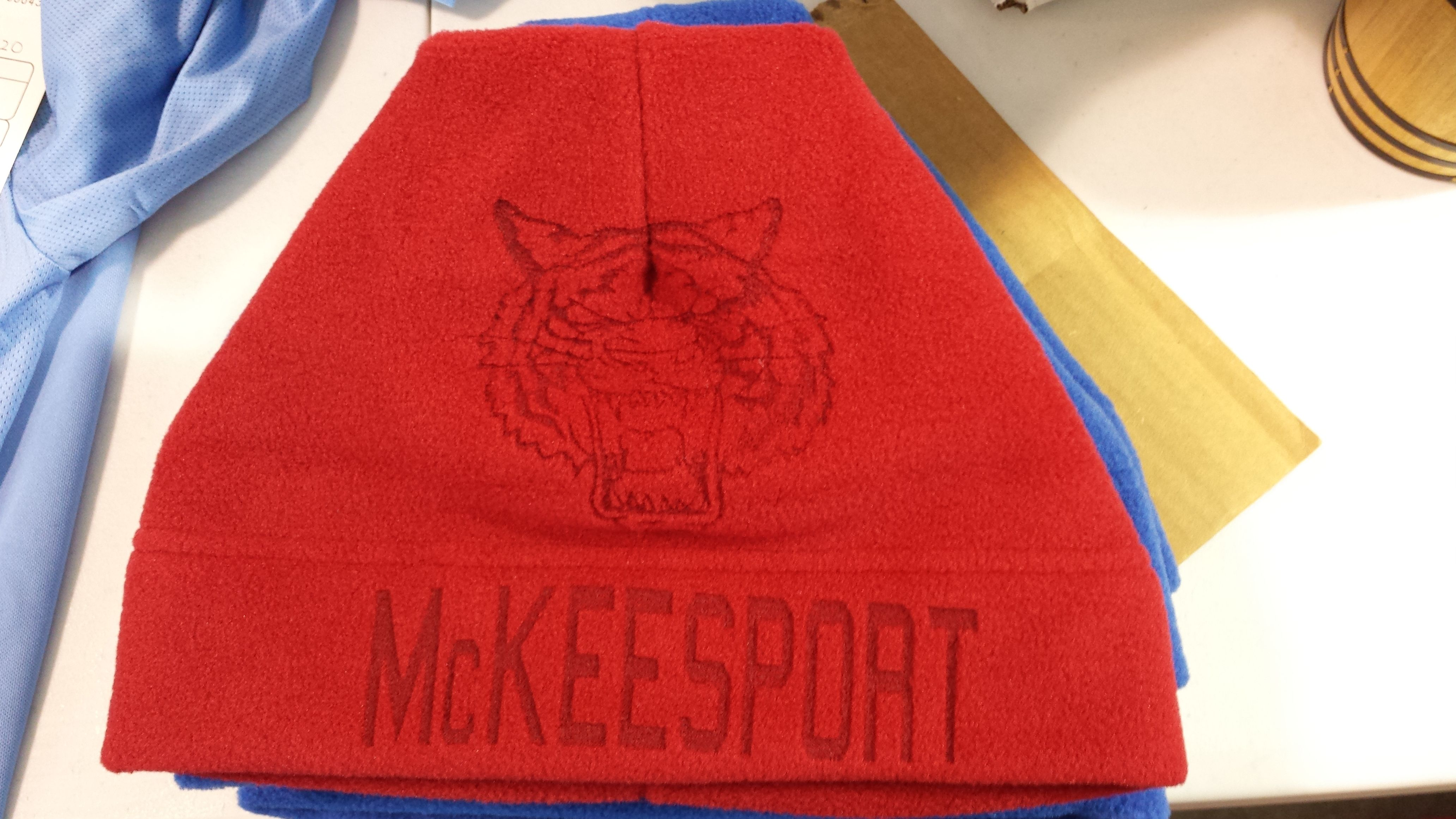 f95105eb3be25 Laser etched polar fleece beanies for the McKeesport High School ...