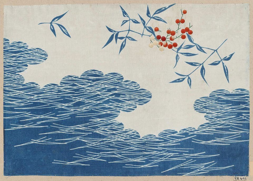 Textile sample with blue and white ground, Japanese, late Edo or early Meiji era, late 19th century.