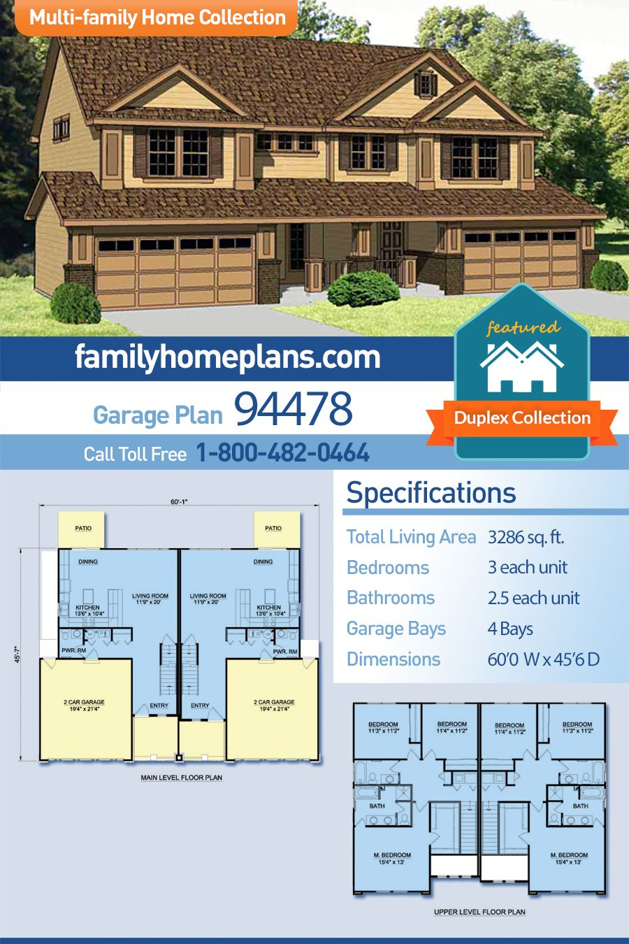 Traditional Style Multi Family Plan 94478 With 6 Bed 6 Bath 4 Car Garage Duplex Floor Plans Multi Family Homes Duplex Design