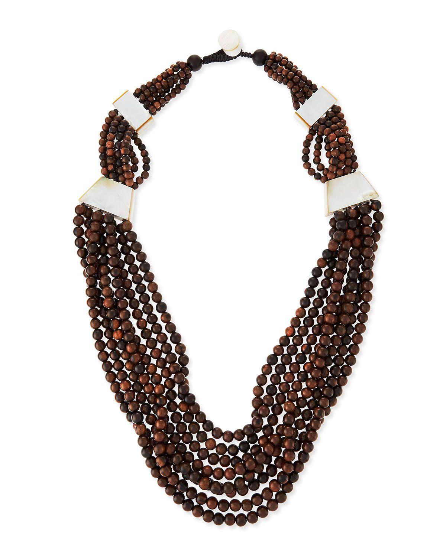 Viktoria Hayman Tiger Wood & Mother-of-Pearl Triple Strand Necklace f7ABj2ho