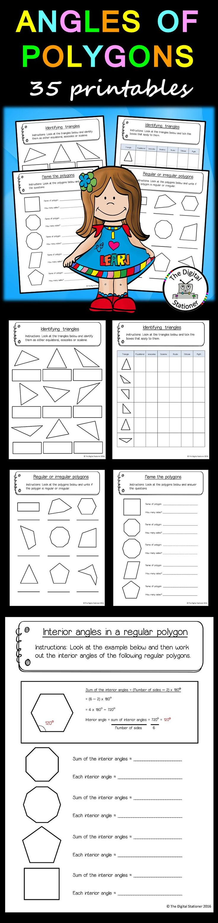 Angles of Polygons 35 printables Math resources