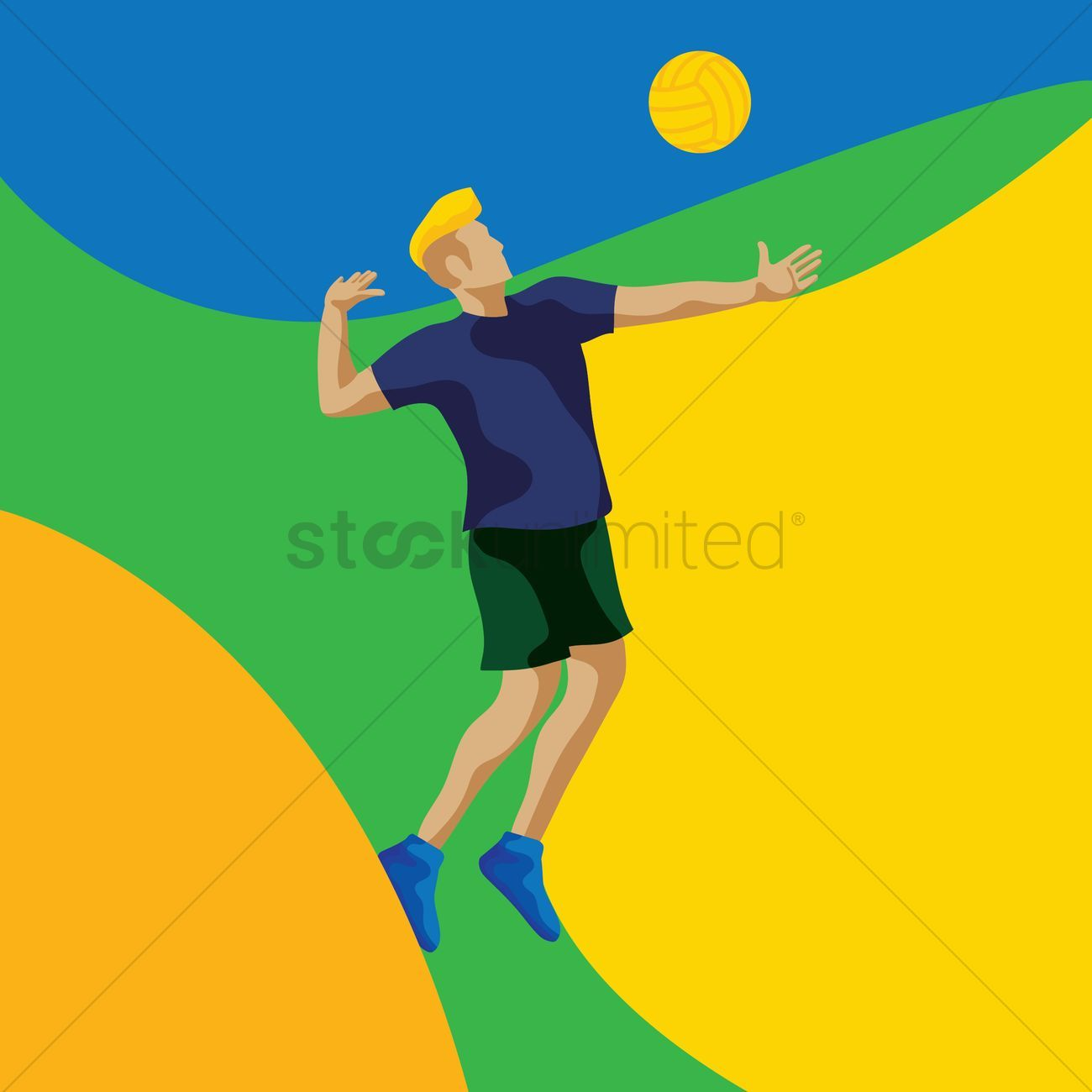 Man Playing Volleyball Vector Illustration Ad Playing Man Volleyball Illustration Vector Affiliate With Images Vector Illustration Character Illustration