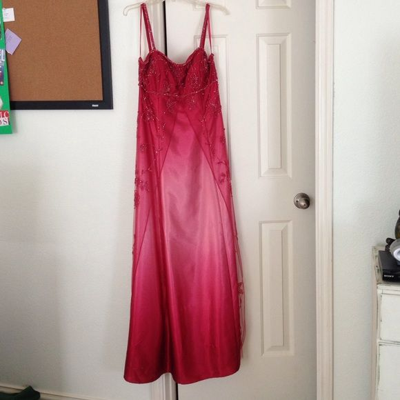 Cache Dress Cache ombré pink dress! Wore at my prom. Has two snags and two small holes towards the bottom. Would make an excellent Halloween costume! Cache Dresses