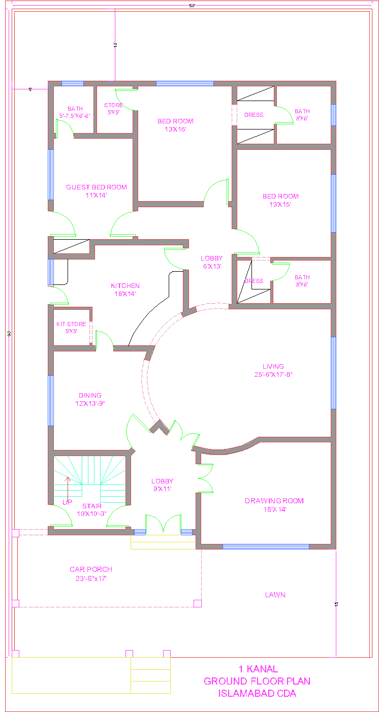 3d front 1 kanal house plan cda islamabad for Home map design free layout plan in india