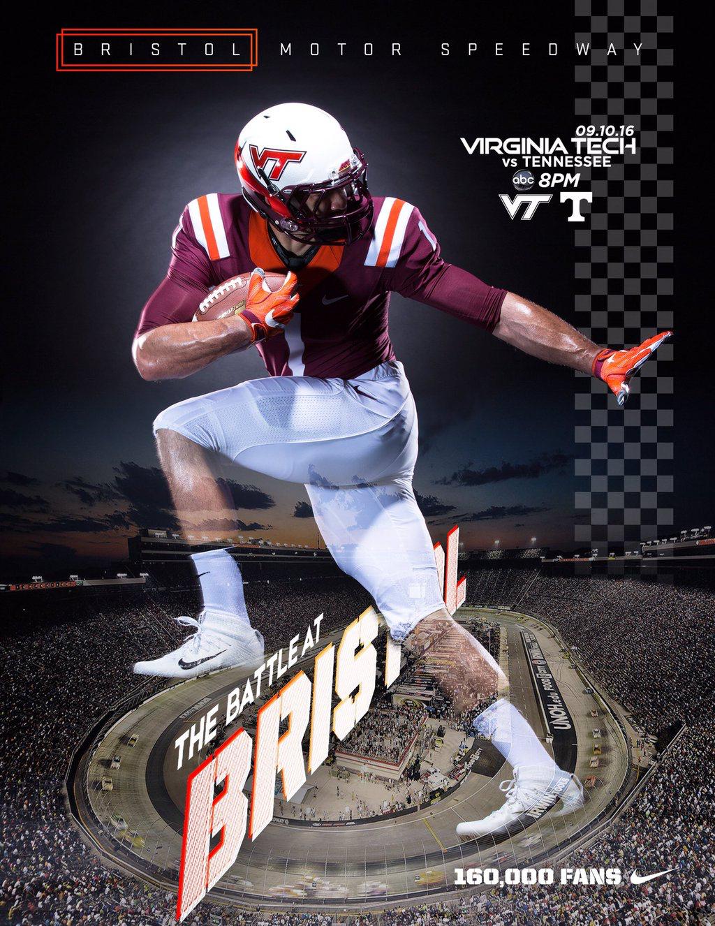 Virginia Tech Sports design, Football pictures, Bristol