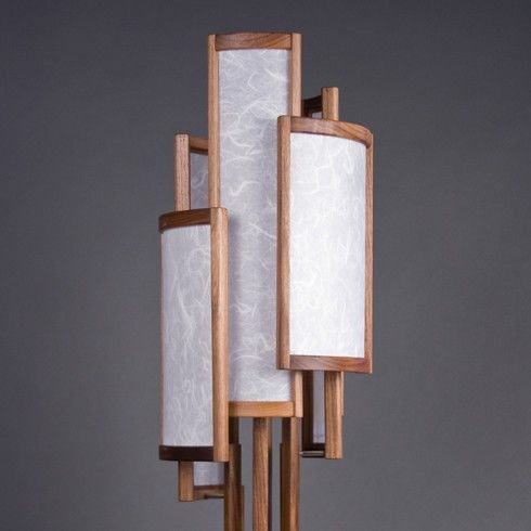 The Silo Table Lamp Walnut Shoji Paper Stainless By Castlewerks With Images Lamp Unique Lamps Bamboo Lamp
