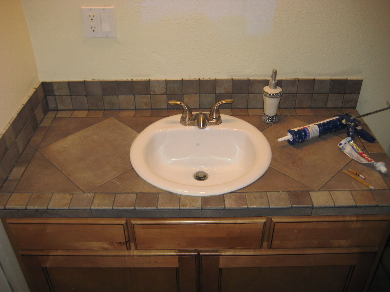 Bathroom vanity tile countertop for the home pinterest for Bathroom counter decor