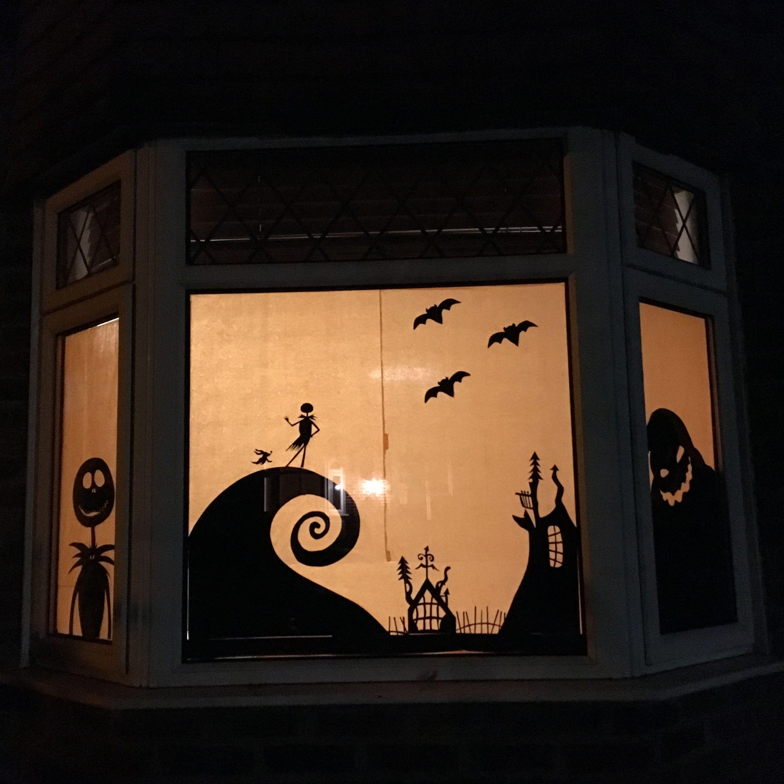 Halloween window decoration. Nightmare before Christmas