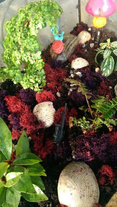 Fairy/terrarium garden made with Red Rose tea figurines