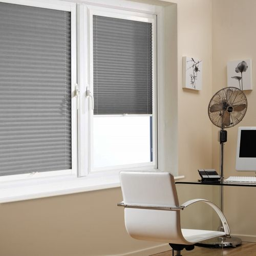 A Grey Colour Perfect Fit Pleated Blind it is ideal for PVC windows