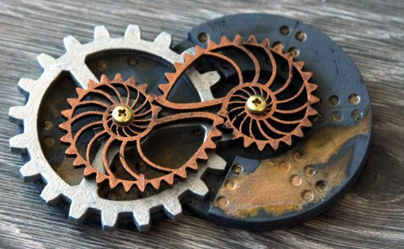 Kinetic Nautilus Gear Pin by SteamyTech on Etsy, $20.00