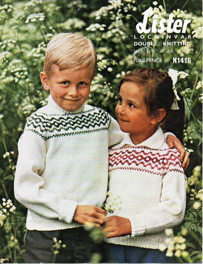 childrens fairisle sweater knitting pattern pdf download vintage ...
