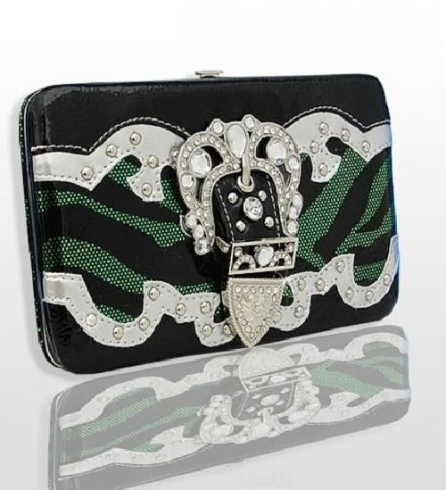 Green and Black Zebra Print Western Style Buckle Wallet  #HBM #Clutch
