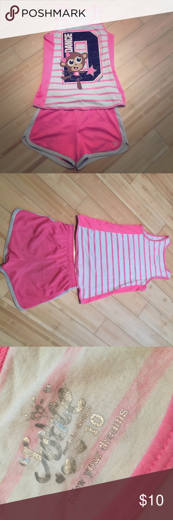 Justice girls athletic tank and shorts set This set has been worn. The shorts have been worn a lot more than the shirt. Both a size 10. Have lots of stretch. Bottoms have some stains on the back (as shown in the last picture). The shirt has one stain on the lower back that's bluish. Looks like a crayon smudge (very small). Overall, cute and comfortable! Justice Matching Sets