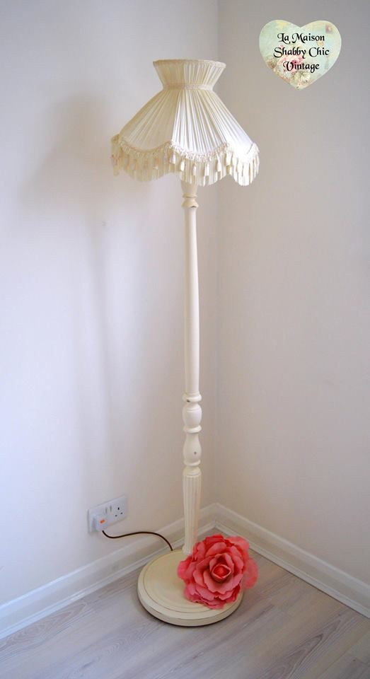 Sold cream lamp stand and shade la maison shabby chic vintage
