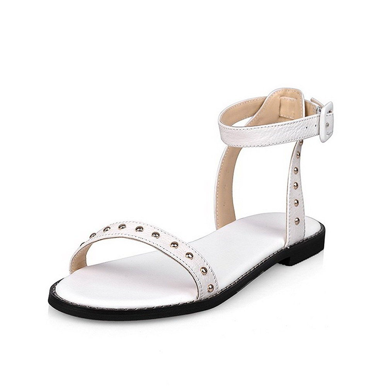 Women's No-Heel Soft Material Solid Buckle Peep Toe Flats-Sandals