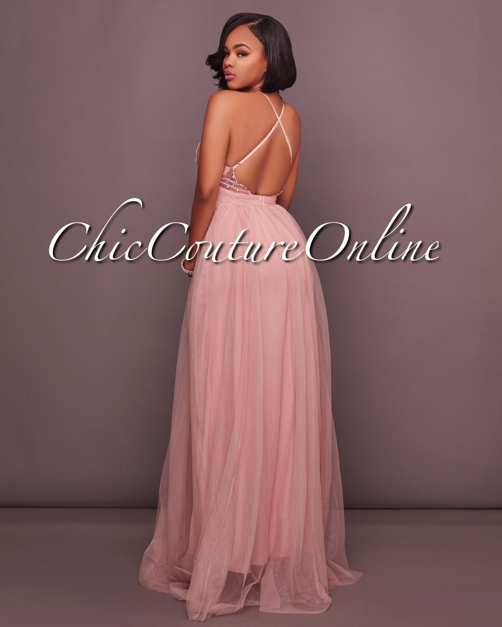 Madrina Dusty Blush Tulle Rose Gold Sequins Maxi Dress | Sequin maxi ...