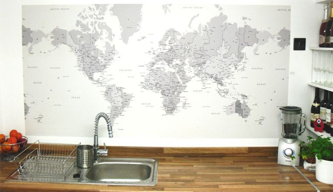World map wallpaper customer photos wallpaper wall maps and room black white world map wallpaper by wallpapered gumiabroncs