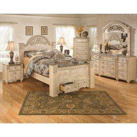 Ashley Saveaha Light Beige 4 Piece Queen Poster Storage Bedroom Set Buy Bedroom Furniture Old