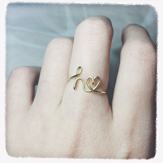 Gold Initial Heart Ring Letter Heart By Beadslearntorock On Etsy