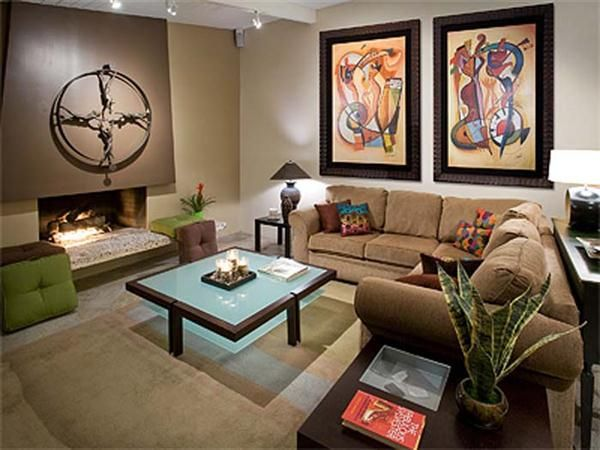 Green Beige Brown Living Room