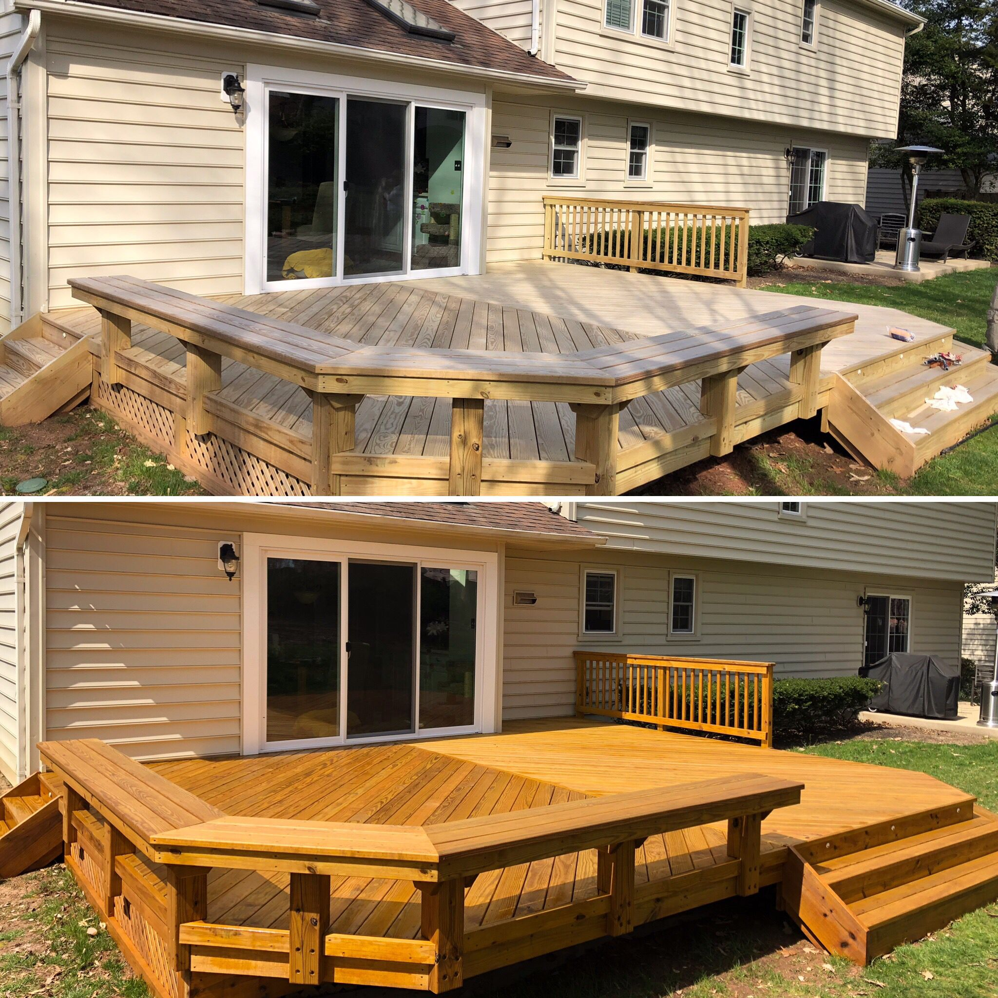 Staining Deck With A Translucent Stain Twp Honey Tone Staining Deck Deck Outdoor Decor