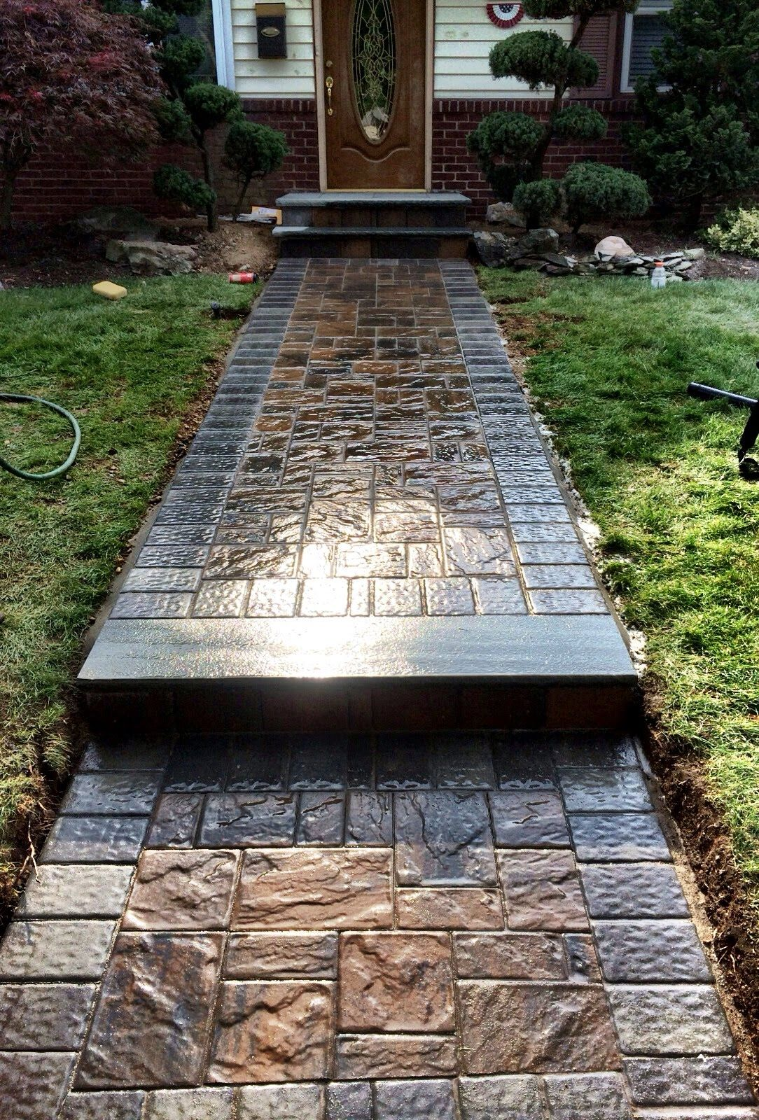 paver walkway bluestone stoop cambridge pavers with armortec wwwstonecreationsoflongislandnet - Paver Walkway Design Ideas